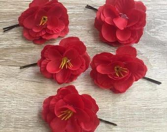 Scarlet Begonia Hair Pin, Scarlet Begonia Hair Clip, Flower Hair Clip, Flower Hair Pin, Floral Hair Clip, Floral Hair Pin, Flower Barrette