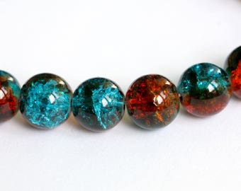 Set of 10 orange and turquoise colored Crackle Glass 10mm round beads