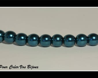 Set of 25 8mm blue green glass beads