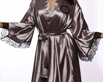 322562599f Monogrammed robe Silk robe Silver kimono robe Personalized robe Dressing  gown Bridal robe Robes with monogram Satin robe Robe with initials