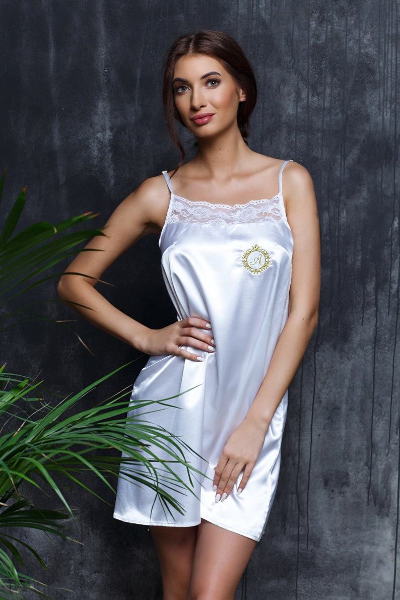 c73c612b49 Womens white night gown Satin night dress Silky nightgown Sexy