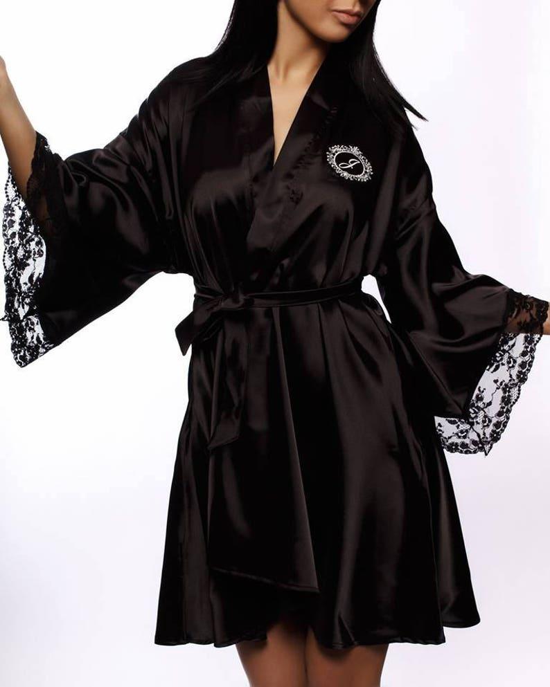 f53fc37e227b Monogrammed robe Silk robe Personalized robe Kimono robe