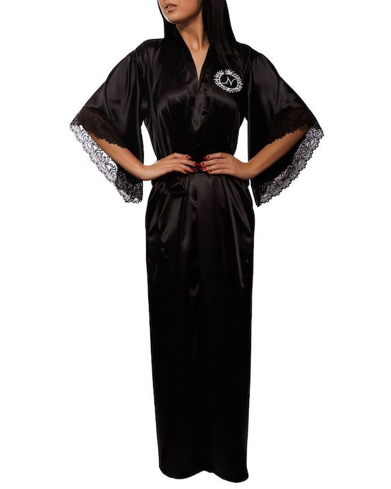 041a9c7788 Long satin robe Silk dressing gown Lace personalized robe with