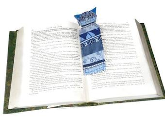 Blue patchwork cat bookmark