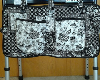 Black 'n' White Delight Storage Caddy for Walker, Wheelchair, Rollator or Bedrail with FREE U.S.A. SHIPPING
