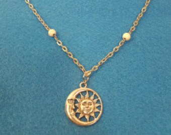 White Howlite with Sun and Moon Pendant
