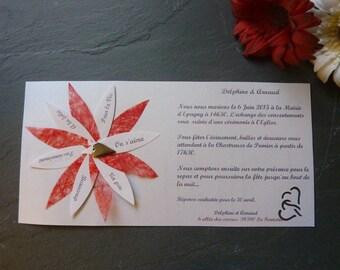 lot de 50 Faire-part mariage original avec enveloppe + 30 pétales invitation