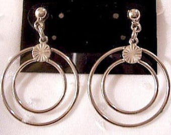 Ring Hoops Pierced Earrings Silver Tone Vintage Long Double Dangles