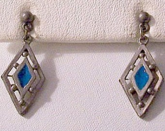 Diamond Bead Pierced Stud Earrings Silver Vintage Open Slotted Dangle