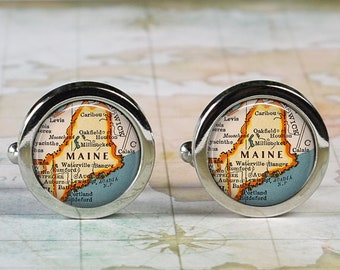 Maine US State Outline Map Pair Of Mens Cufflinks Cuff Links Gifts For Him