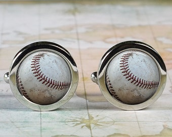 Silver Toned Etched Oval Baseball Cufflinks
