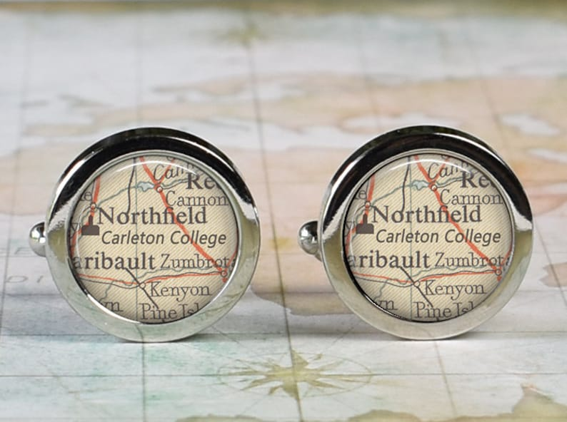 Carleton College cufflinks, Carleton College map cuff links graduation gift  alumni or student gift Northfield Minnesota map, retirement gift