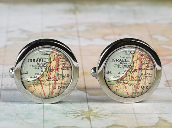 Israel Cuff Links Israel Map Cufflinks Wedding Gift Etsy