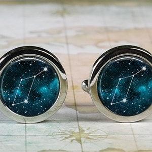 Lyra constellation cuff links Lyre of Orpheus cufflinks celestial star constellation astronomy gift for musician singer songwriter