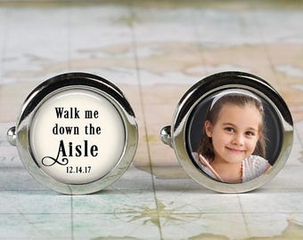 Walk me down the Aisle cuff links, wedding cufflinks wedding gift bridal gift for bride's Dad custom photo cuff links personalized cufflinks