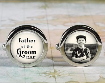 Father of the Groom cuff links, wedding cufflinks wedding gift bridal for Groom's Dad custom photo cuff links personalized cuff links