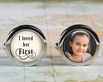 I Loved her First cuff links, wedding cufflinks wedding gift bridal gift for bride's Dad custom photo cuff links personalized cuff links