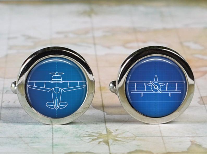Biplane Blueprints cufflinks antique airplane cufflinks aeronautical cuff links gift for pilot or airman Father/'s Day or groomsmen gift