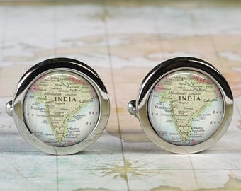 India cuff links, India map cufflinks wedding gift anniversary gift for groom gift for him groomsmen best man Father's Day gift