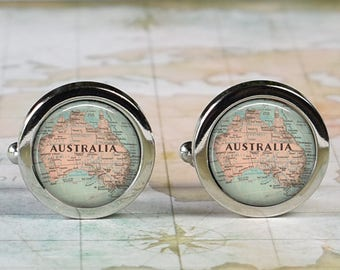 Australia cuff links, Australia map cufflinks wedding gift anniversary gift for groom gift for him groomsmen best man Father's Day gift