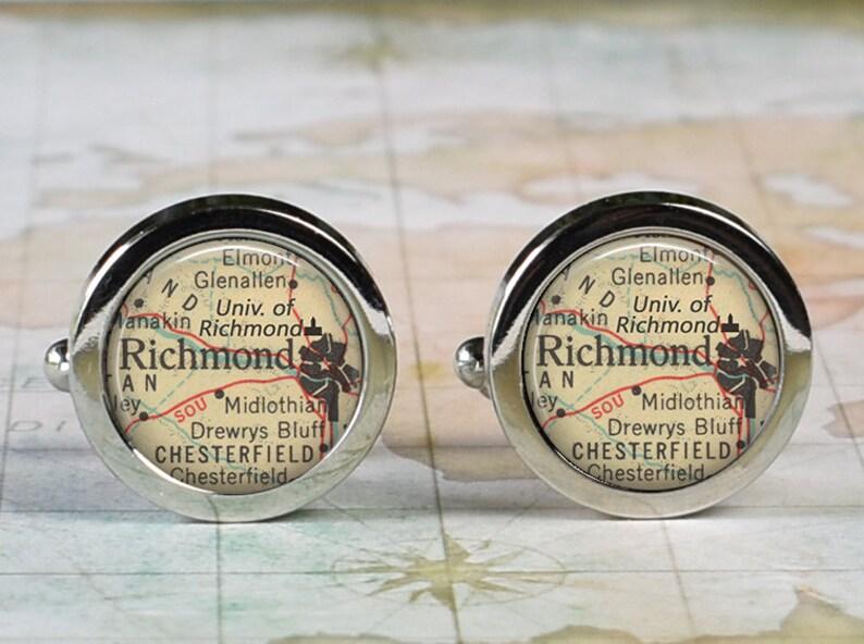 UR cufflinks graduation gift college student alumni gift Richmond Virginia map cuff links University of Richmond cufflinks