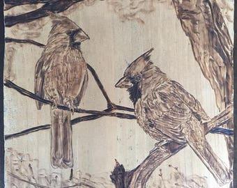 Wood burned Cardinals