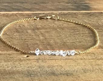 Red raw diamond bracelet adjustable 14k gf or Sterling Silver