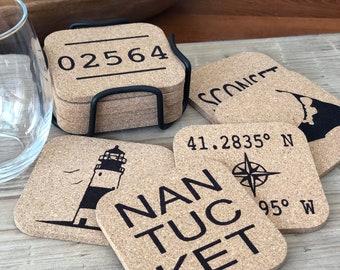 "Nantucket Coasters with Storage Holder, Nantucket Gifts, Nantucket, Nantucket Entertaining, Barware, 4"" Cork Coasters"