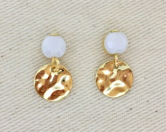 """Stud Earrings gold, hammered, sequins, gold plated """"small hammered"""""""