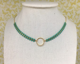 """Choker necklace, gold and green spikes with ring, gold plated, chain model """"Epic"""", adjustable"""