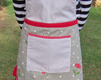 Patterns cherries and polka dot ruffled apron