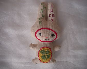 """Cuddly Bunny embroidered fabric """"luck"""", """"lucky"""""""