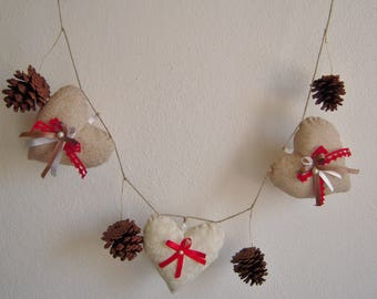 Garland of 3 hearts fabric and pine cones