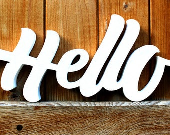 Painted wooden letters * word Hello * Original lettering