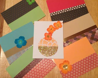 Set of (7) Note Cards with Varying Designs and Colors