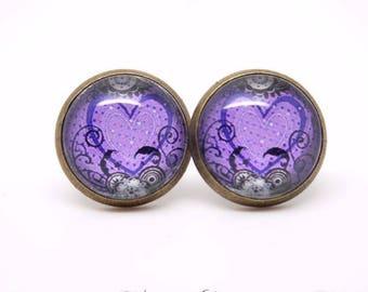 Purple Heart studs earrings