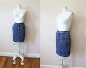 1980s indigo acid wash denim high waist jean skirt 80s acid wash denim pencil skirt mini skirt small medium