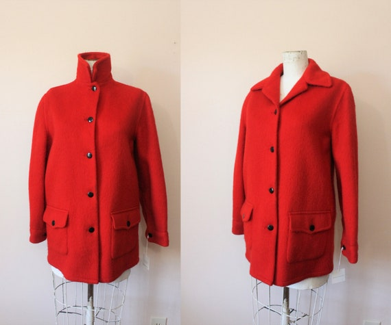 Hudson Bay Mackinaw coat | 1940s red wool unisex w