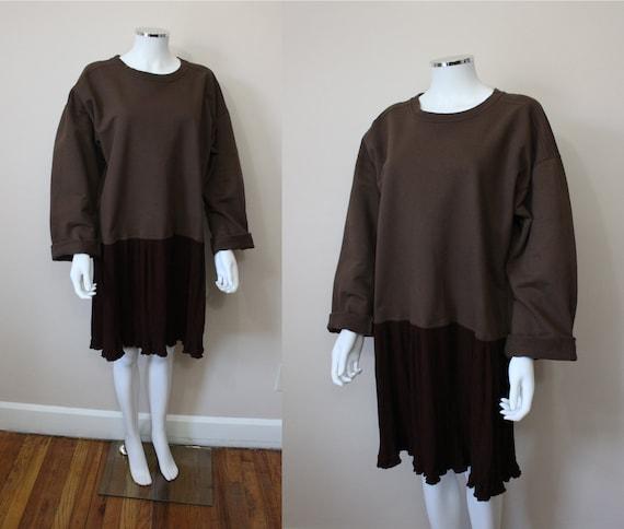 Coffee oversize sweatshirt mini dress | 1980s brow