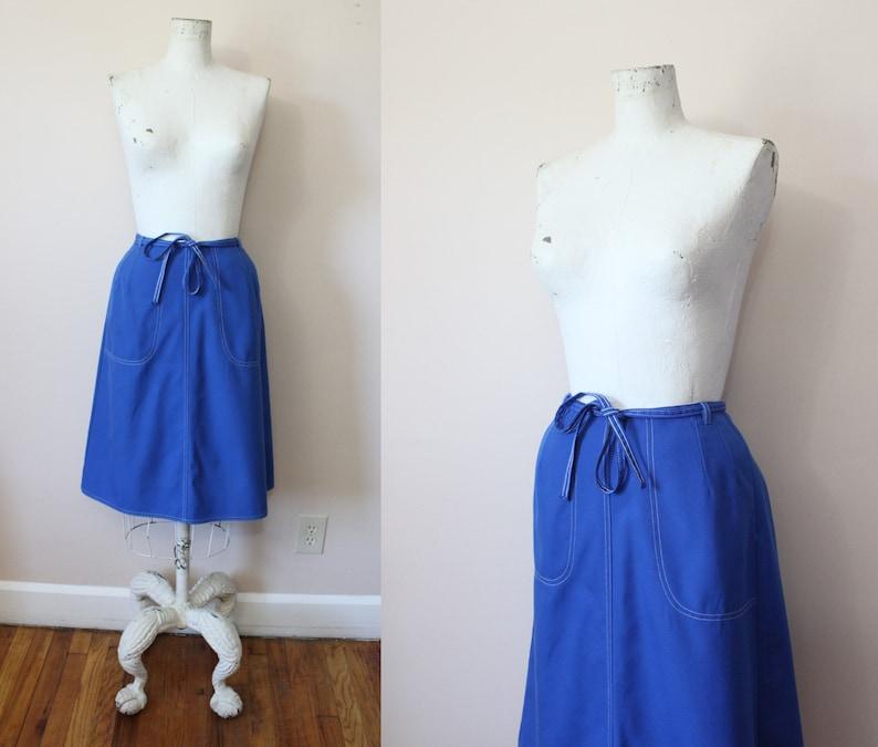 apron midi skirt vintage 70s blue wrap skirt 1970s apron wrap skirt xs small