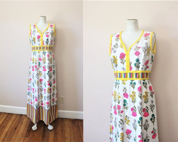 1960/'s Multi-Colored Maxi Dress Sm. Maxi Dress Empire Waist Chiffon Floral Print