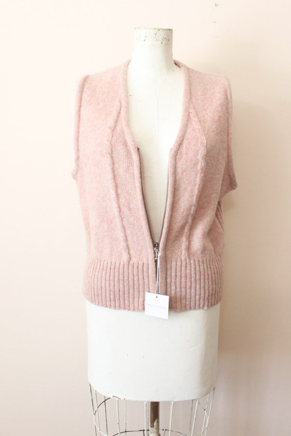 Dusty Pink wool vest | 1990s light pink cable kni… - image 2