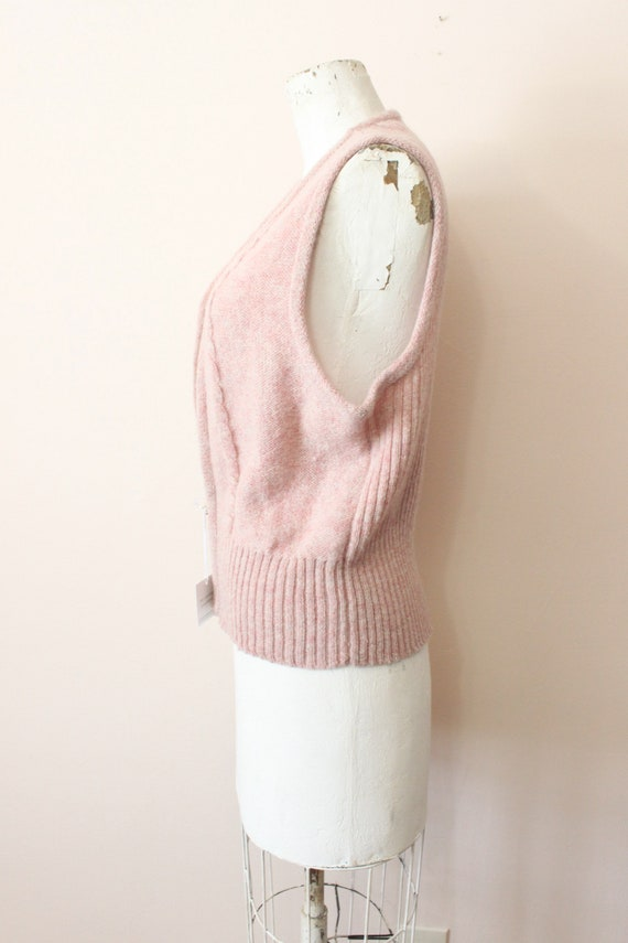 Dusty Pink wool vest | 1990s light pink cable kni… - image 6