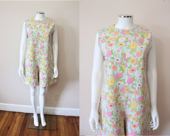 1960s Mod Floral thick ribbed cotton turquoise pla