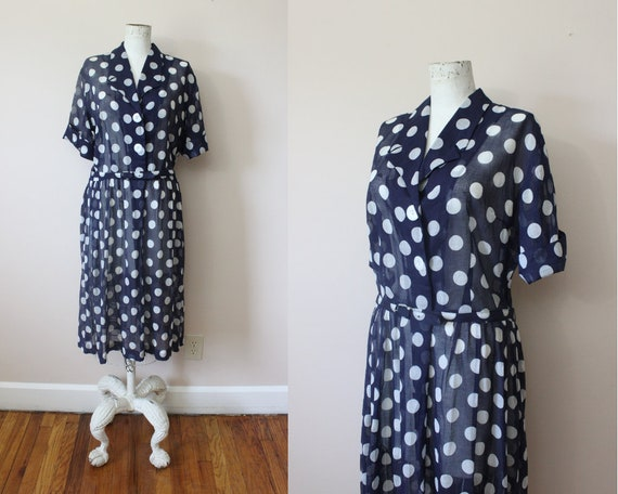 1950s 60s sheer cotton voile navy polka dots belte