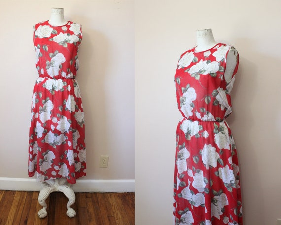 Moon Rose sheer red dress   1980s sheer red bold f