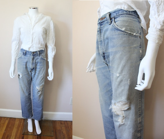 1980s Ripped faded jeans   vintage 80s Rustler lig