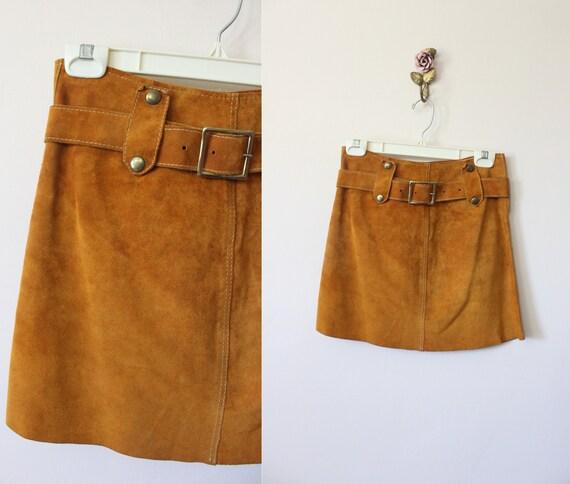 1960s Suede belted mini skirt | vintage 60s mod hi