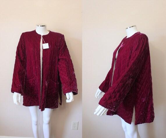 Bacall velvet lounge jacket   1940s TEXTRON lush b