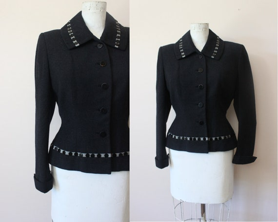 1940s 50s Button Trimmed black wool wasp waist fit